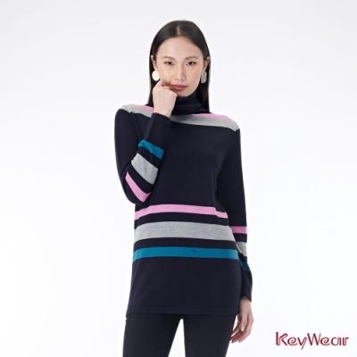 KeyWear奇威名品    條紋純羊毛高領毛衣-深藍色