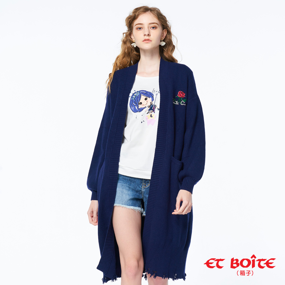 【5折限定】精繡長版開襟針織外套- ET BOITE箱子