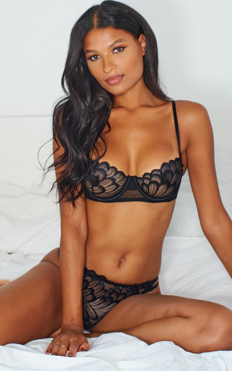 Black Contrast Lace Strapping Detail Lingerie Set