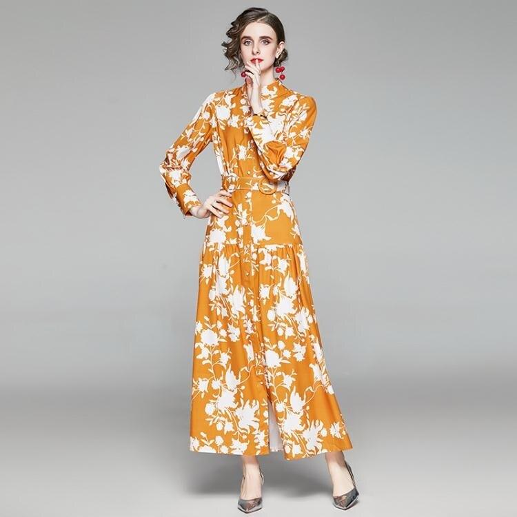 【限時折扣】實拍#澳洲貴婦2020女裝復古收腰抽象印花燈籠長袖大擺連衣裙