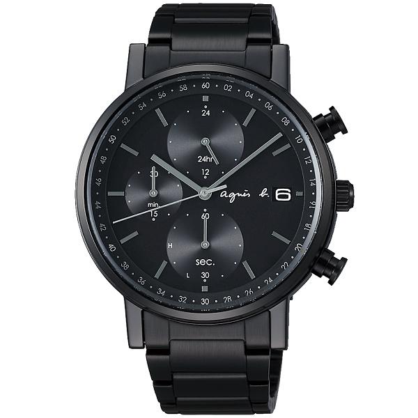 【台南 時代鐘錶 agnes b.】太陽能 鋼錶帶 三眼計時男錶 BZ6004P1 VR43-KSG0SD 黑 41mm 耶誕節限定