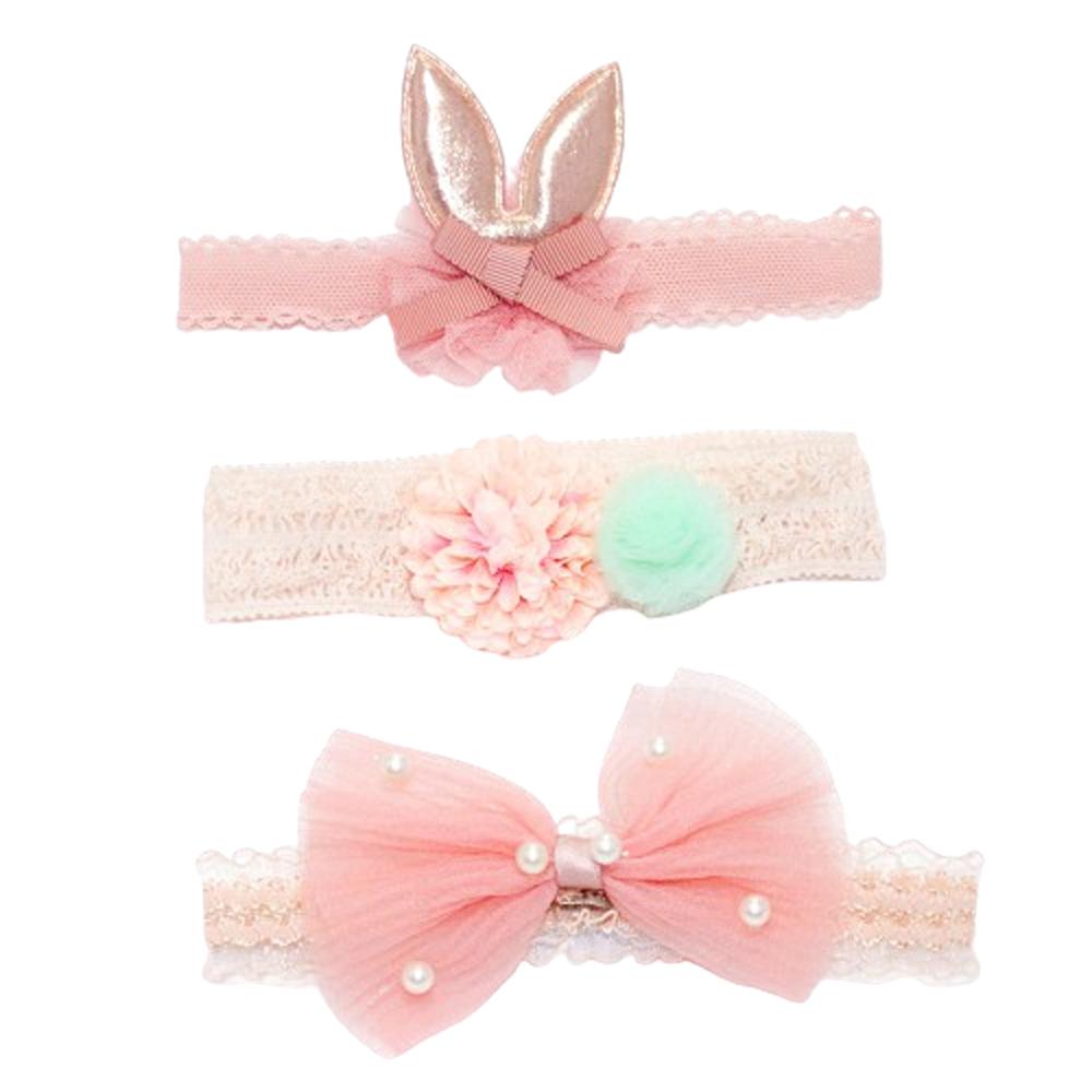 韓式公主蝴蝶結髮帶禮盒 三件組 珍珠兔耳朵【CH003A3059】