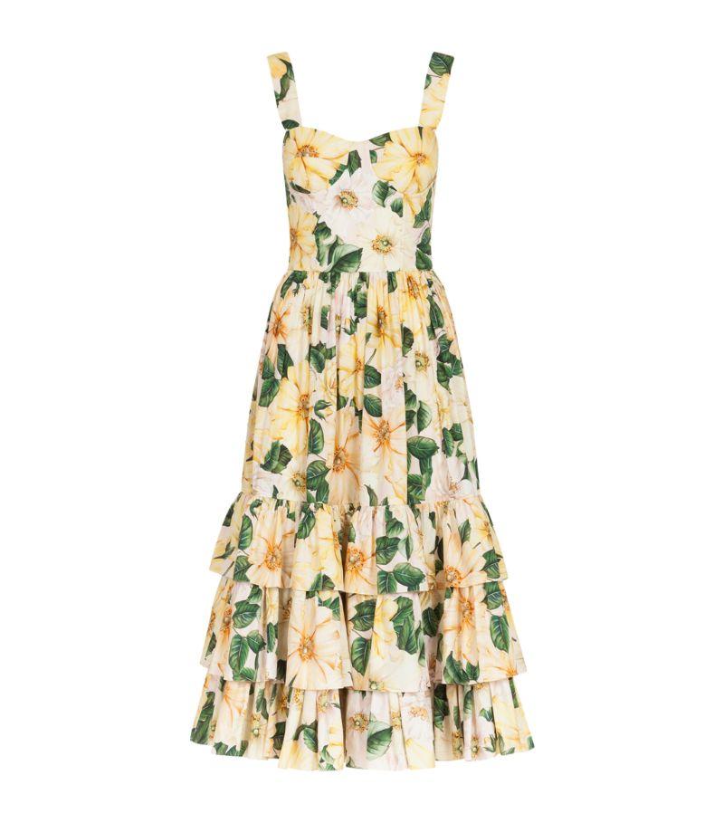Dolce & Gabbana Cotton Camellia Midi Dress