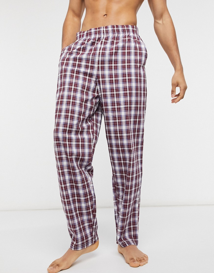 ASOS DESIGN lounge pyjama trousers in burgundy check-Red