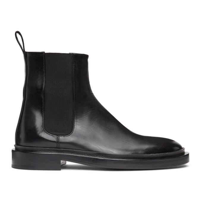 Jil Sander 黑色小羊皮切尔西靴