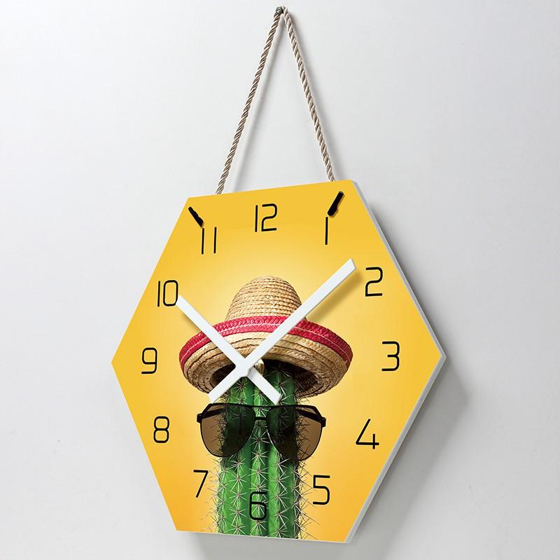 【易普拉4024】六棱亞克力掛繩極簡時尚鐘表客廳臥室靜音家用