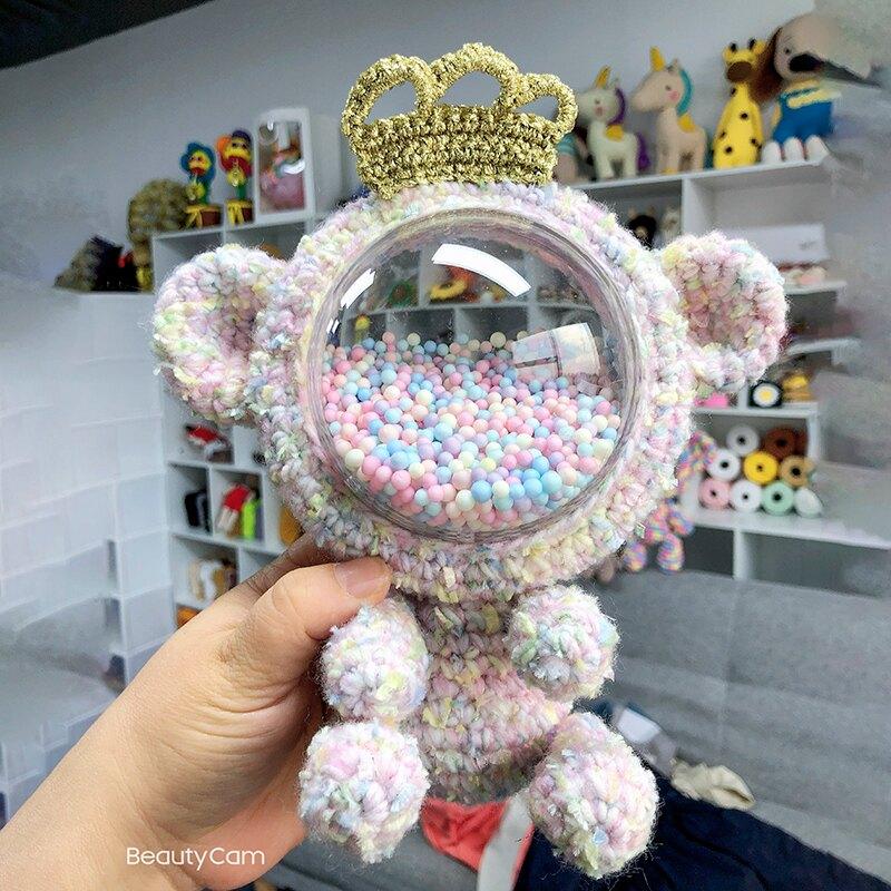 圓球包 手工編織包包小熊壓克力圓球背包手縫DIY太空艙洛麗塔泫雅材料包【xy6008】