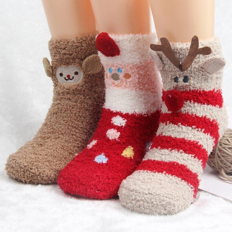 兒童襪 兒童珊瑚絨圣誕襪子棉質秋冬天加厚男女童襪寶寶中長筒睡眠地板襪【xy6167】