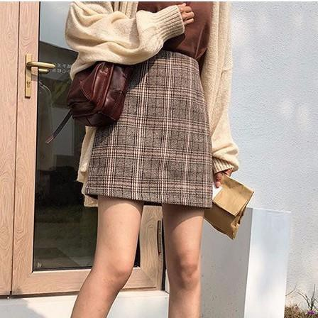 A字裙 顯瘦 百搭裙子 半身短裙 復古格子高腰半身裙女秋季百搭包臀裙壹步