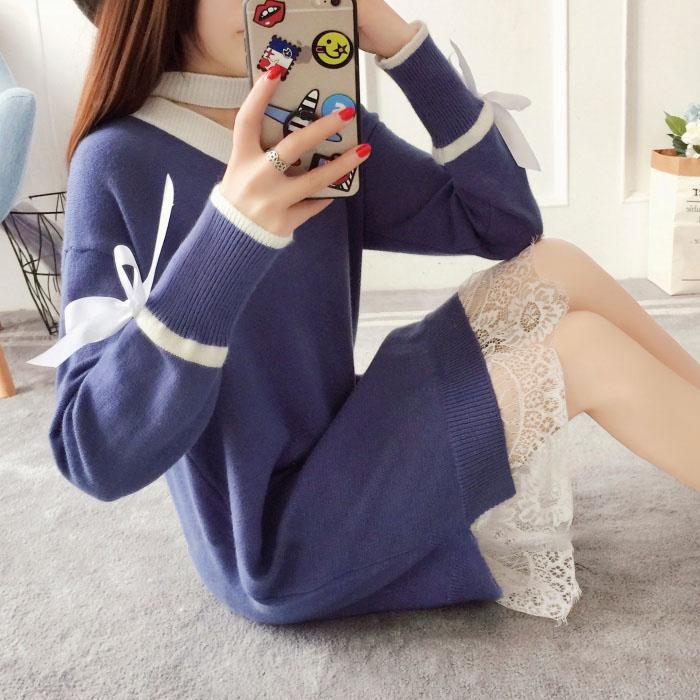 韓版新款寬鬆拼接蕾絲綁帶針織連身裙 vina shop 【預】OPS11070