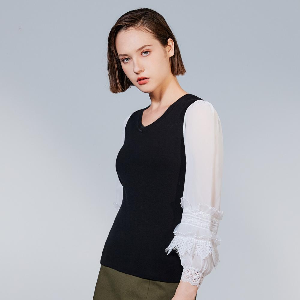 【追加到貨】SO NICE優雅拼接蕾絲袖針織上衣
