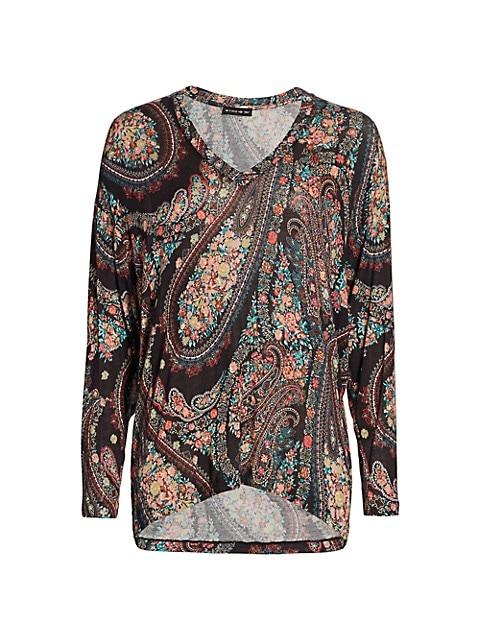 Floral Paisley V-Neck Knit Top