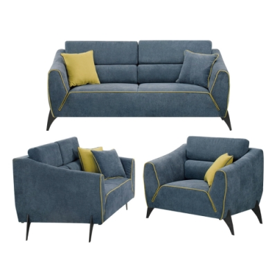 文創集 哈里特 現代藍灰可拆洗絲絨布沙發組合(1+2+3人座組合)-191x91x80.5cm免組