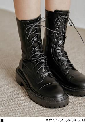韓國空運 - 綁帶設計皮革中長軍靴 靴子