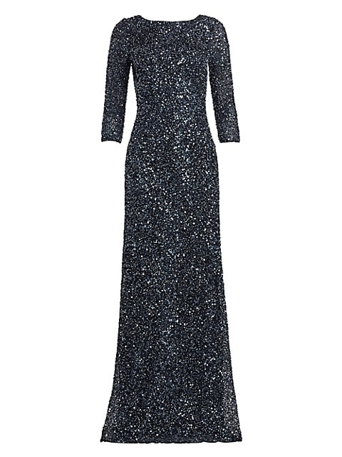 Crunchy Sequin Boatneck Gown