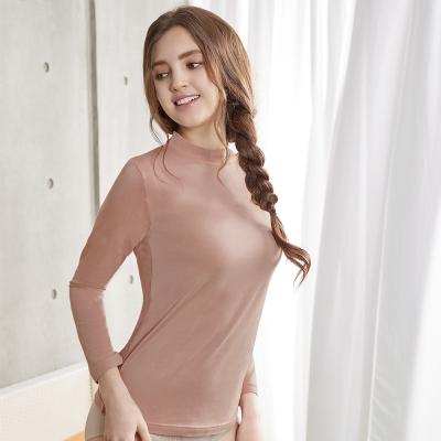 曼黛瑪璉 條紋小立領長袖保暖衣M-XL(條紋粉)