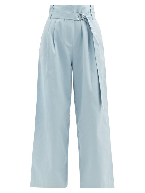 Tibi - Stella Belted Cotton-drill Wide-leg Trousers - Womens - Light Blue
