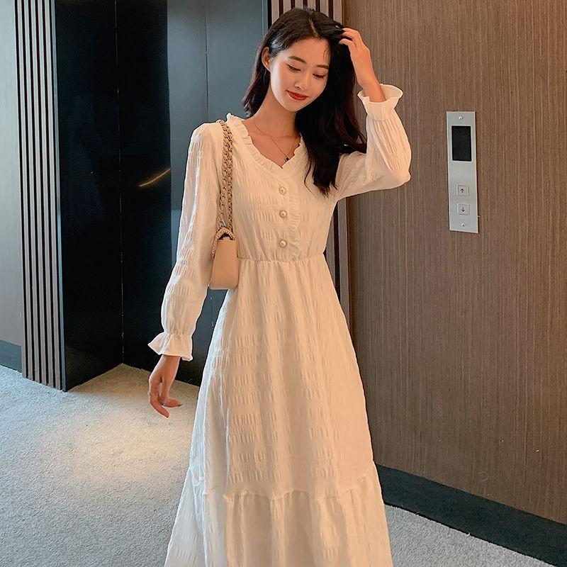 新款赫本風法式白裙長袖連衣裙女收腰顯瘦氣質中長款仙女裙子