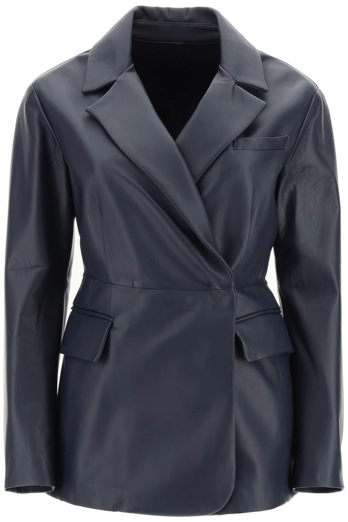 SPORTMAX SINGLE-BREASTED NAPPA JACKET 42 Blue Leather
