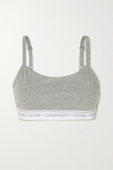 Calvin Klein Underwear - Ck One 混色弹力棉质莫代尔混纺软杯文胸 - 灰色 - small