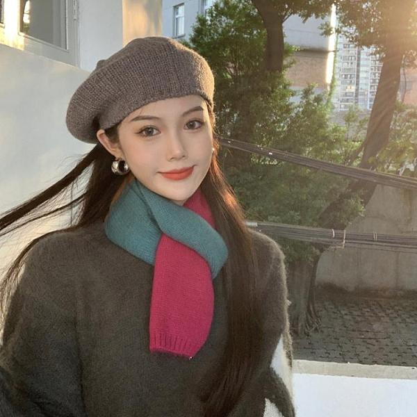 圍巾 韓版毛絨針織圍巾女ins潮2021新款冬季學生百搭時尚拼色保暖圍脖 維多原創