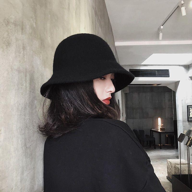 升級版~黑色羊毛漁夫帽子女秋冬季韓版潮百搭針織網紅款盆帽冬天