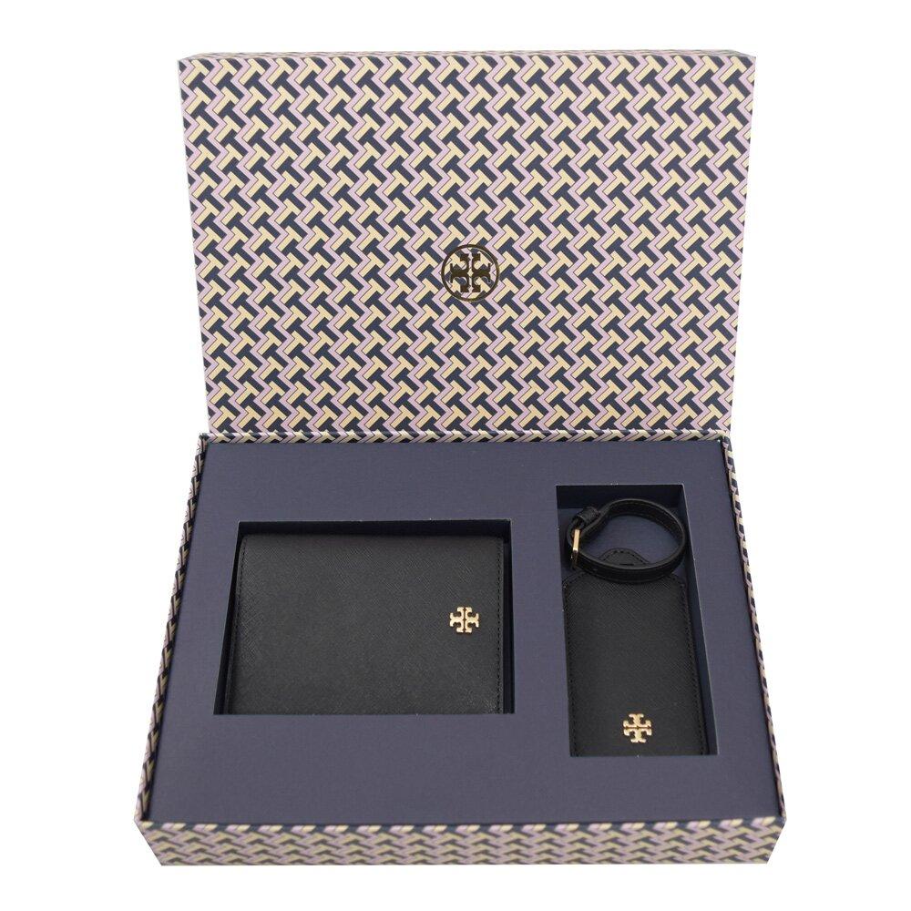 TORY BURCH 專櫃商品 64192 金屬LOGO防刮皮革護照夾禮盒組.黑