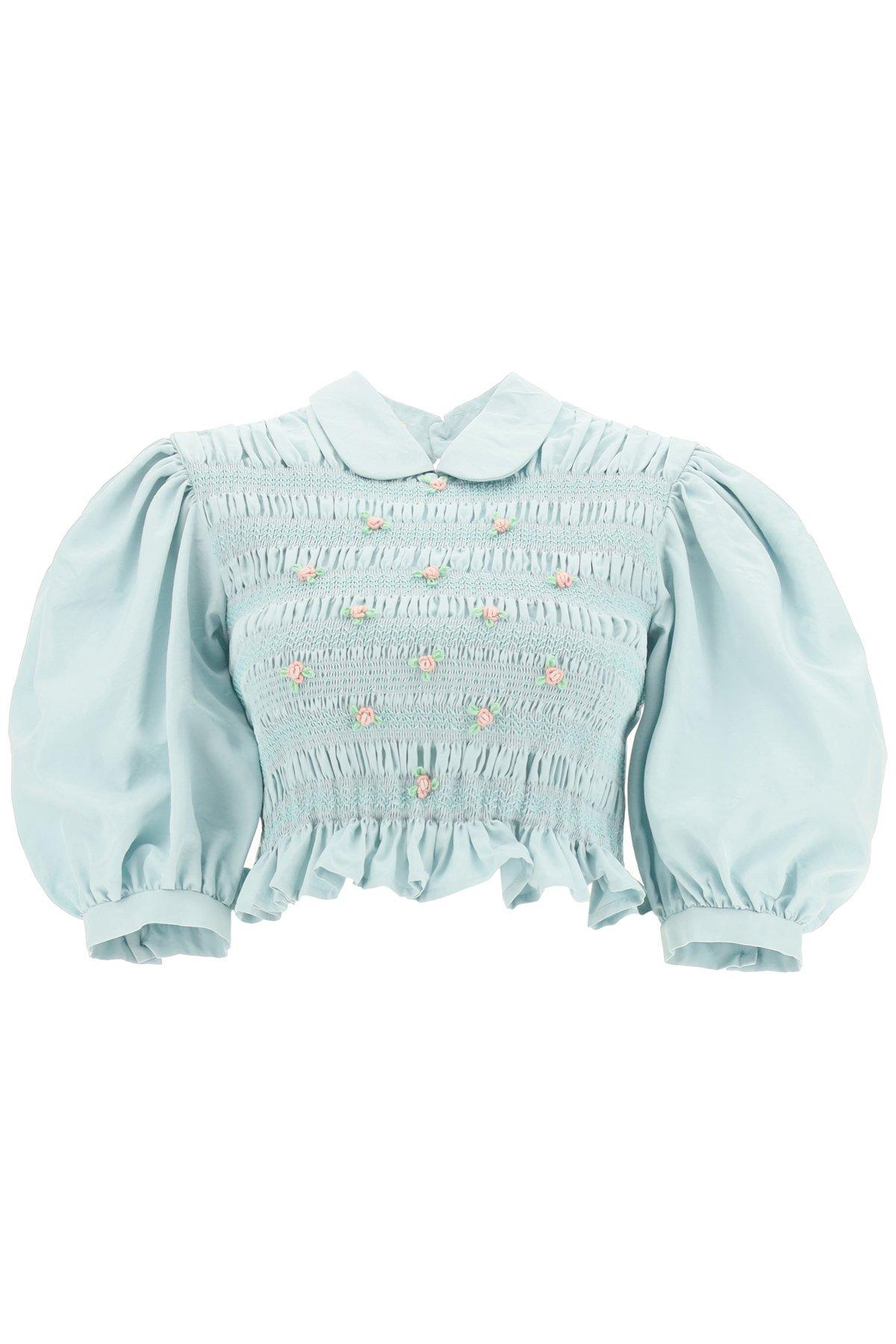 Miu miu faille top with floral applications