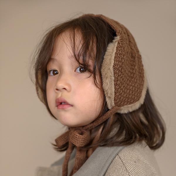 兒童耳罩 男女童兒童保暖耳帽加厚加絨寶寶耳罩毛線針織系繩頭帽【快速出貨八折搶購】