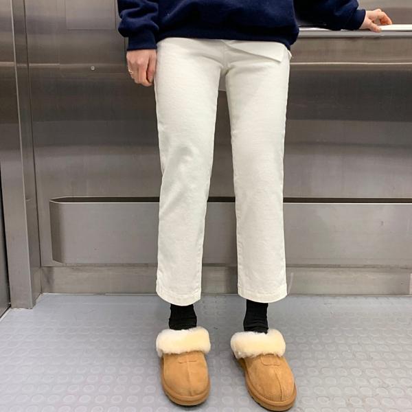 韓國製.素面經典素面修身直筒九分棉麻長褲.白鳥麗子