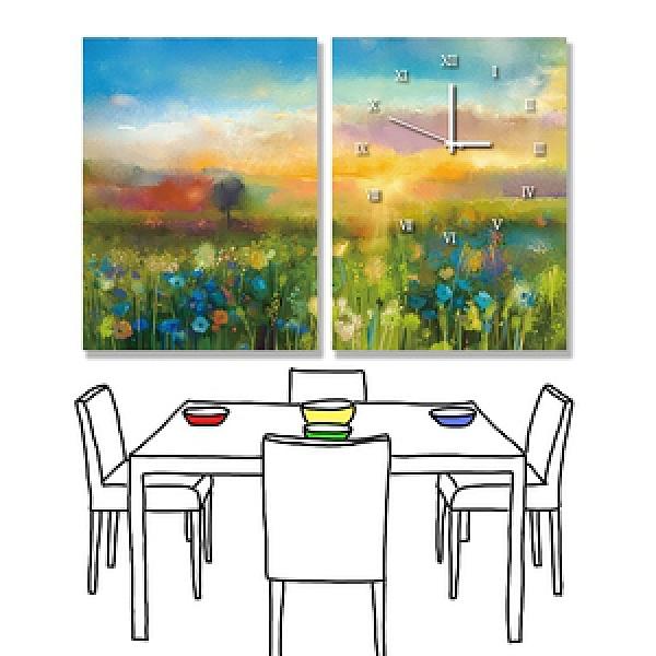 【24mama 掛畫】二聯式 油畫布 無框畫 30x40cm-野花花園油畫布有時鐘野花花園