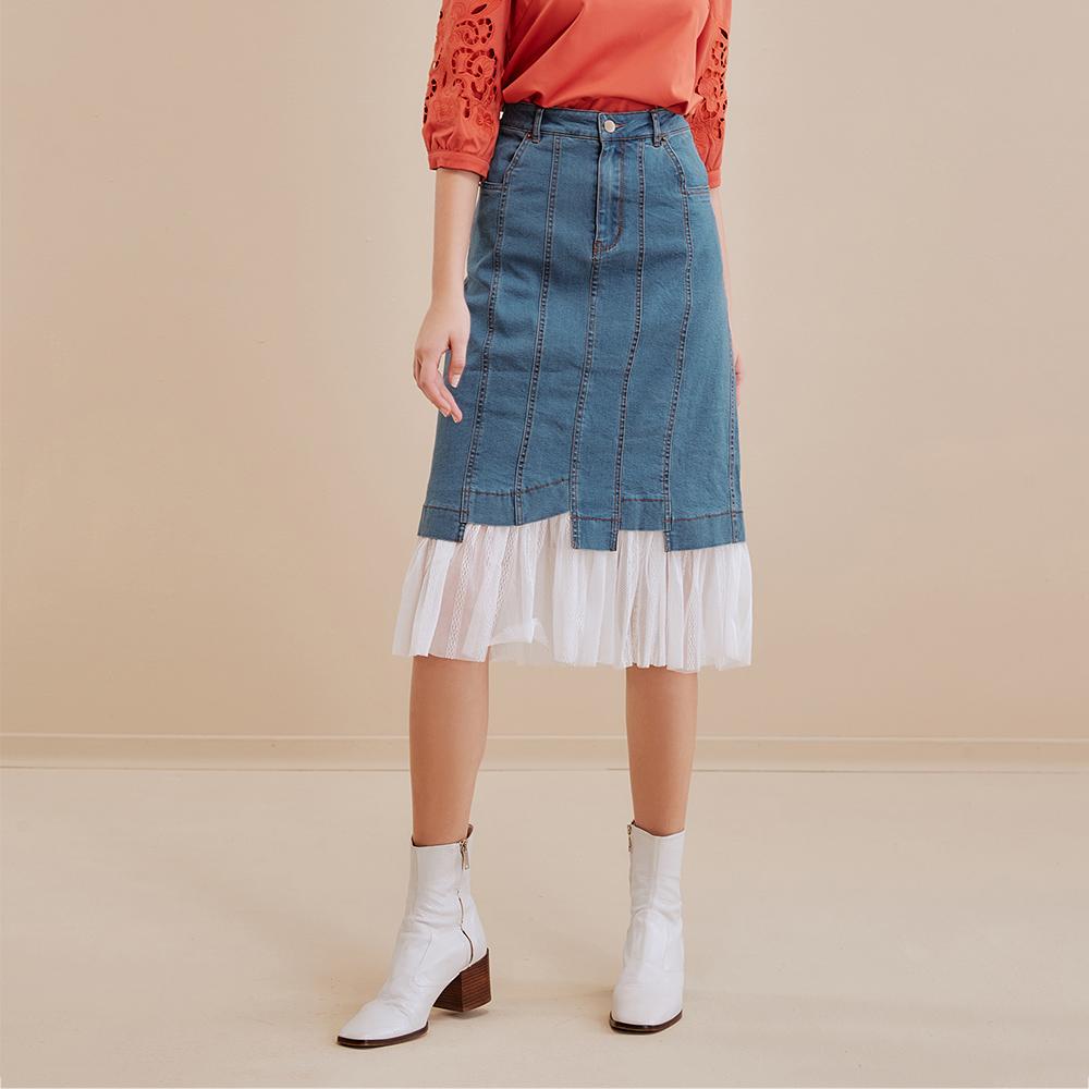 OUWEY歐薇 可拆式網紗牛仔窄裙(藍)I76203