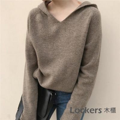 Lockers 木櫃 韓版套頭連帽寬鬆針織衛衣-2色-預