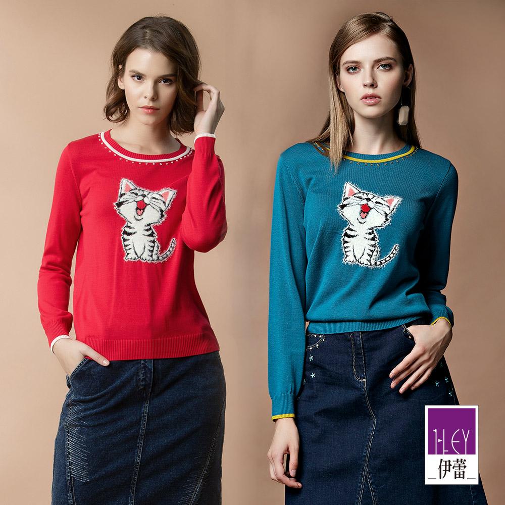 ILEY伊蕾 微笑貓咪配色圓領毛衣(藍/紅)890516