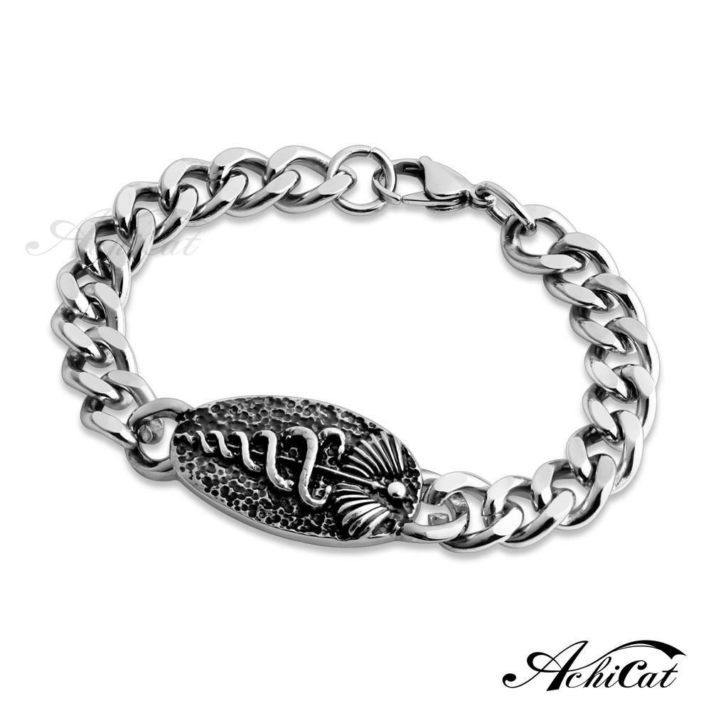 AchiCat 鋼手鍊 白鋼手鍊 暗黑傳說 蛇手鍊 仿古銀刷黑處理 送刻字 個性手鍊 B3083