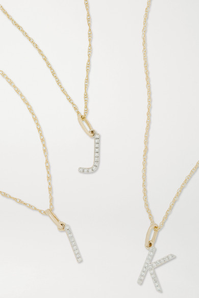 STONE AND STRAND - Alphabet 9k 黄金钻石项链 - 金色 - E