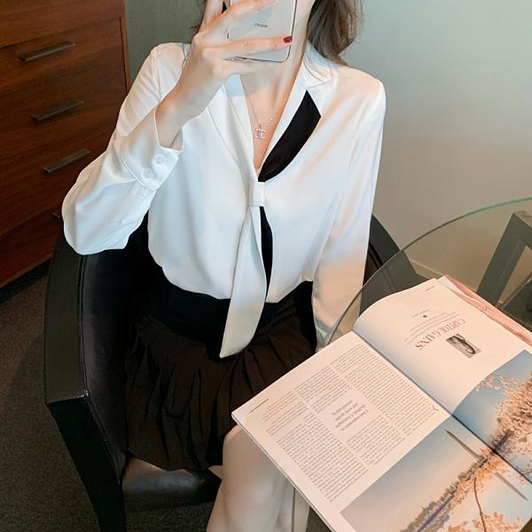 職業白色襯衫女S-XL小衆設計感襯衣雪紡衫上衣1399 T624 韓依紡