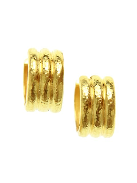 Gold Hammered 19K Yellow Gold Banded Wide Huggie Hoop Earrings