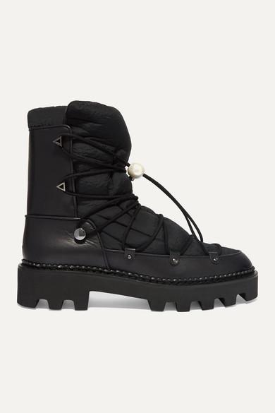 Nicholas Kirkwood - 人造珍珠缀饰皮革软壳面料踝靴 - 黑色 - IT35