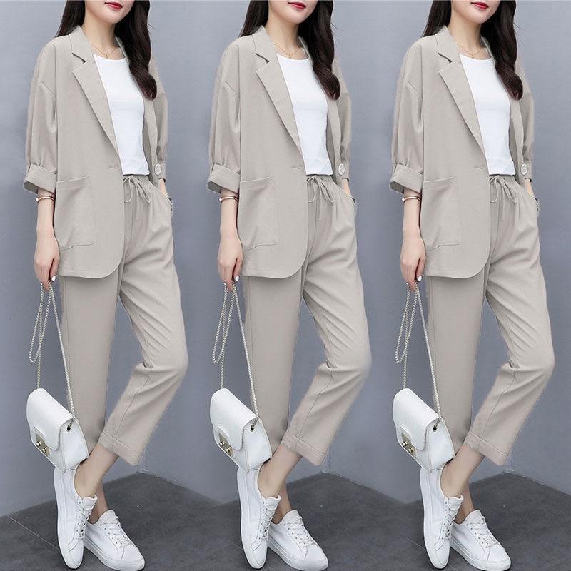 ✗兩件套/單件2020新款小西裝外套大碼韓版寬松顯瘦休閑西服套裝女