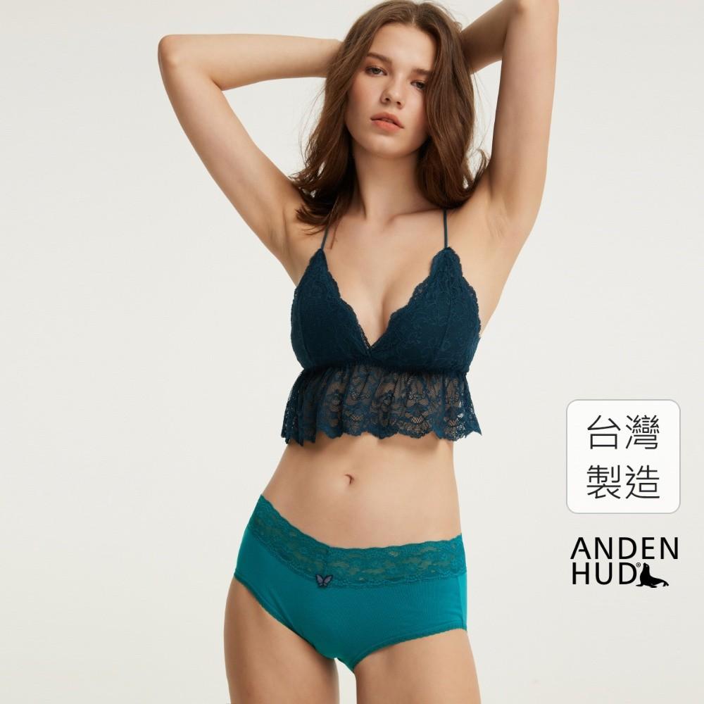 【Anden Hud】春寒.窄版V蕾絲高腰三角內褲(翠綠) 台灣製