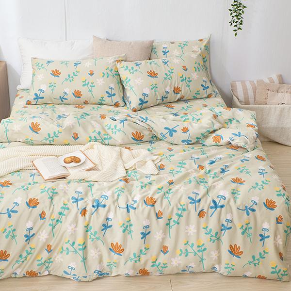 單人床包被套組(雙人薄被套) / 精梳純棉三件式 / 艾米綠花園 台灣製