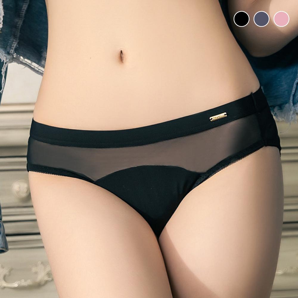 內褲【獨家】有氧日記-Mini Queen高質感牛奶絲拼接透膚網紗三角褲(3色S-XXXL)
