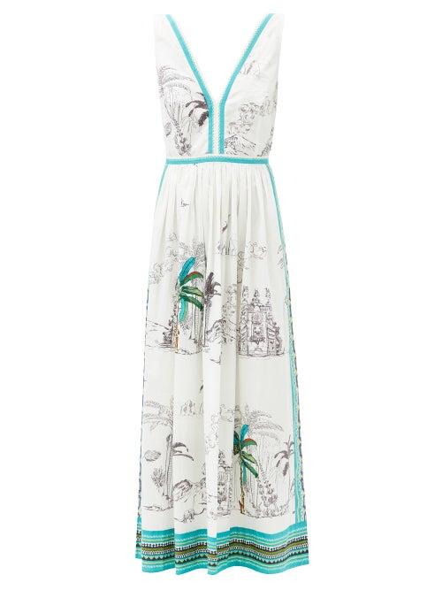 Le Sirenuse, Positano - Sophia Prehistoric Positano-print Cotton Sun Dress - Womens - White Print