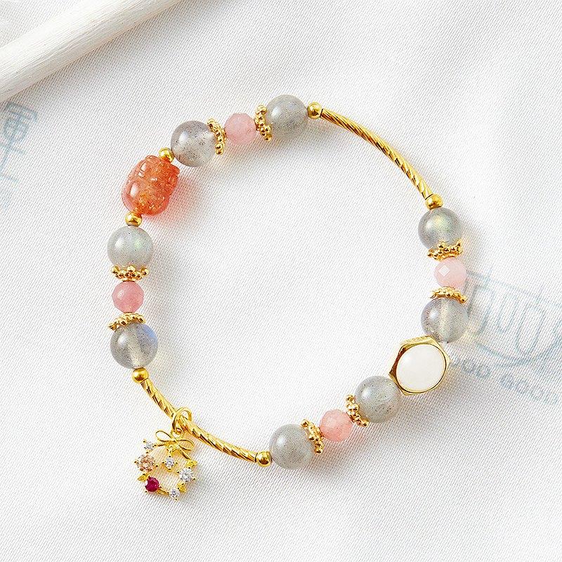 永恆芬芳促姻緣貔貅手鍊、(含開光)金草莓晶、粉晶、灰白月光、幫助愛情、提升戀情距離