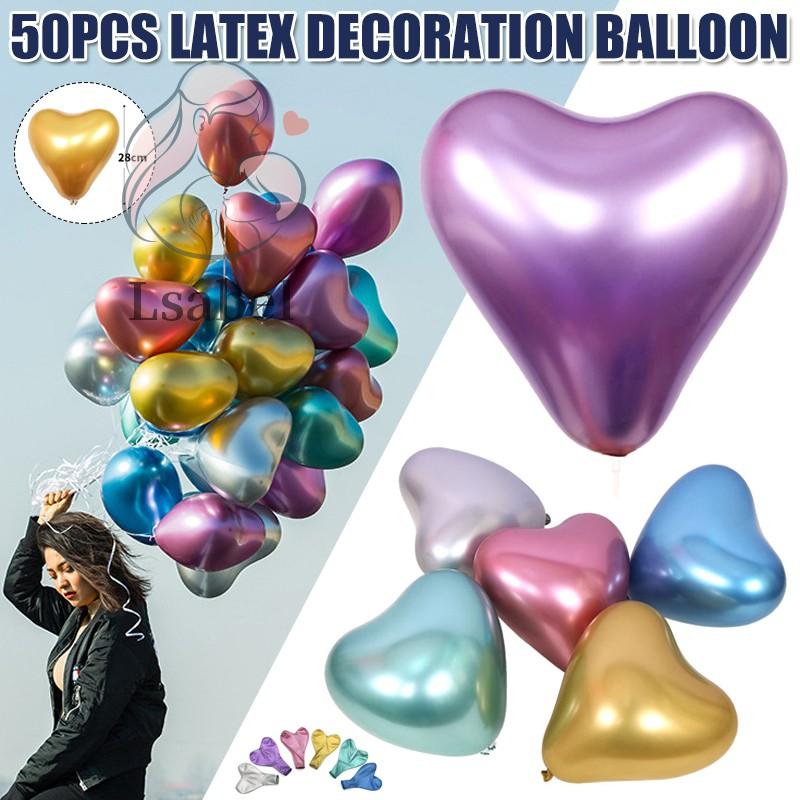 心形氣球乳膠鋁箔金屬愛心氣球新娘婚禮生日派對裝飾多色氣球