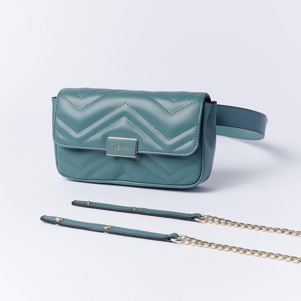 VEMAR輕奢個性兩用鍊帶腰包(時髦綠)