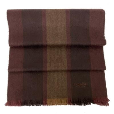 COACH 經典LOGO羊毛混喀什米爾直紋圍巾(深紅/咖)