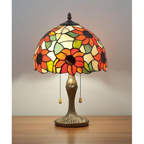 蒂芬尼手工彩繪玻璃圓頂桌燈-LS-7141-1