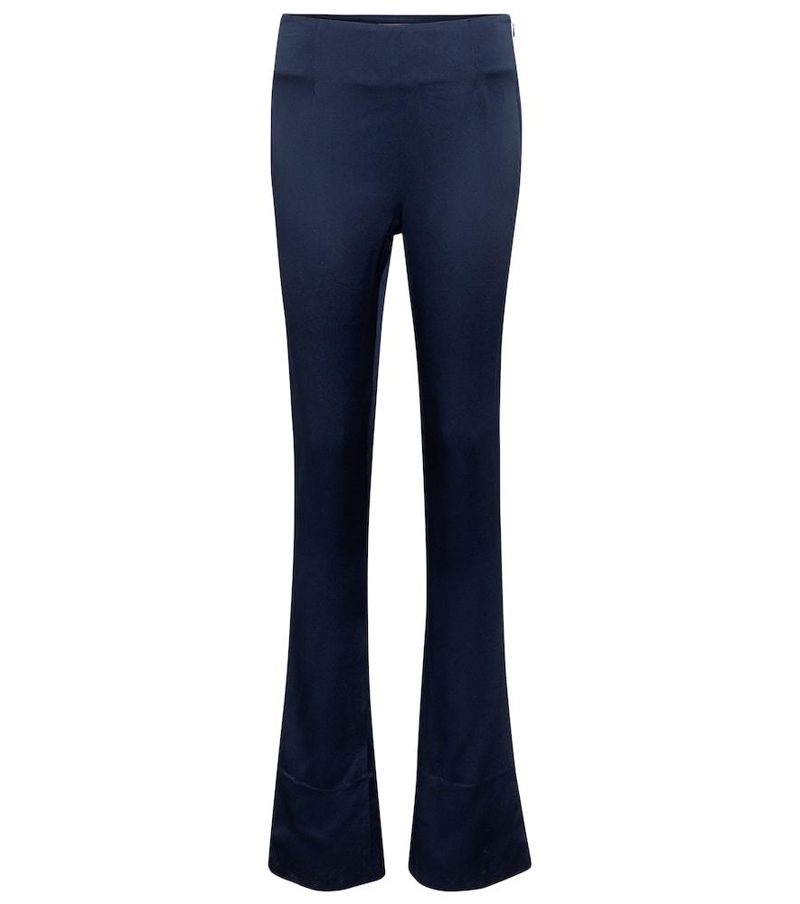 High-rise slim satin-crêpe pants